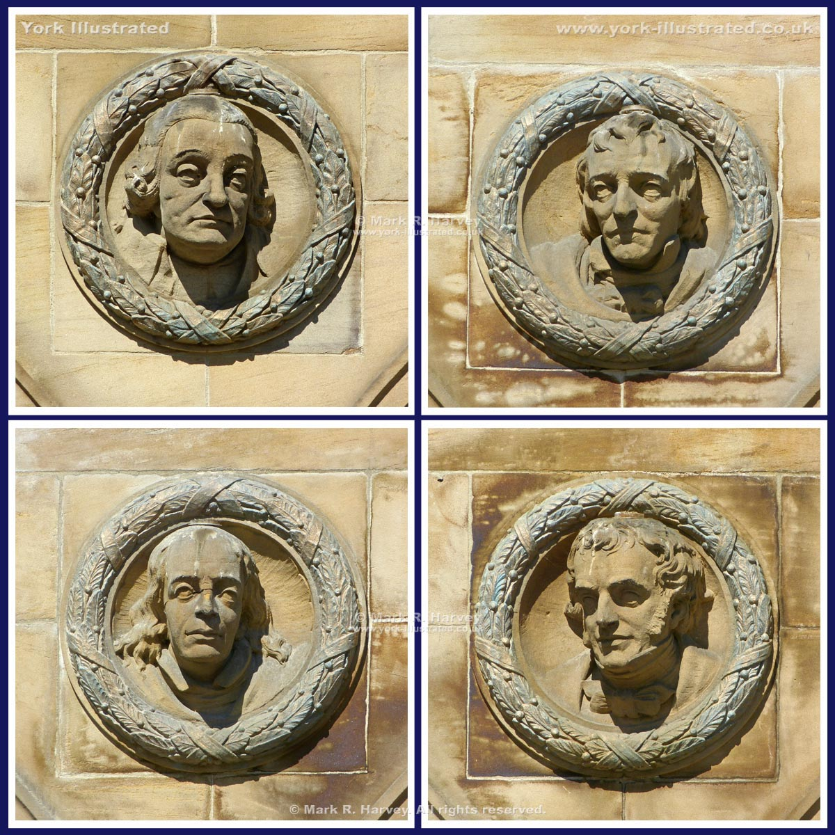Photo-montage: The four portrait roundels on front facade of the York Art Gallery building.