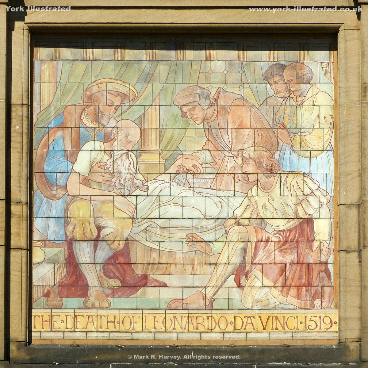 Photograph: Tiled panel depicting death of Leonardo da Vinci on York Art Gallery facade.