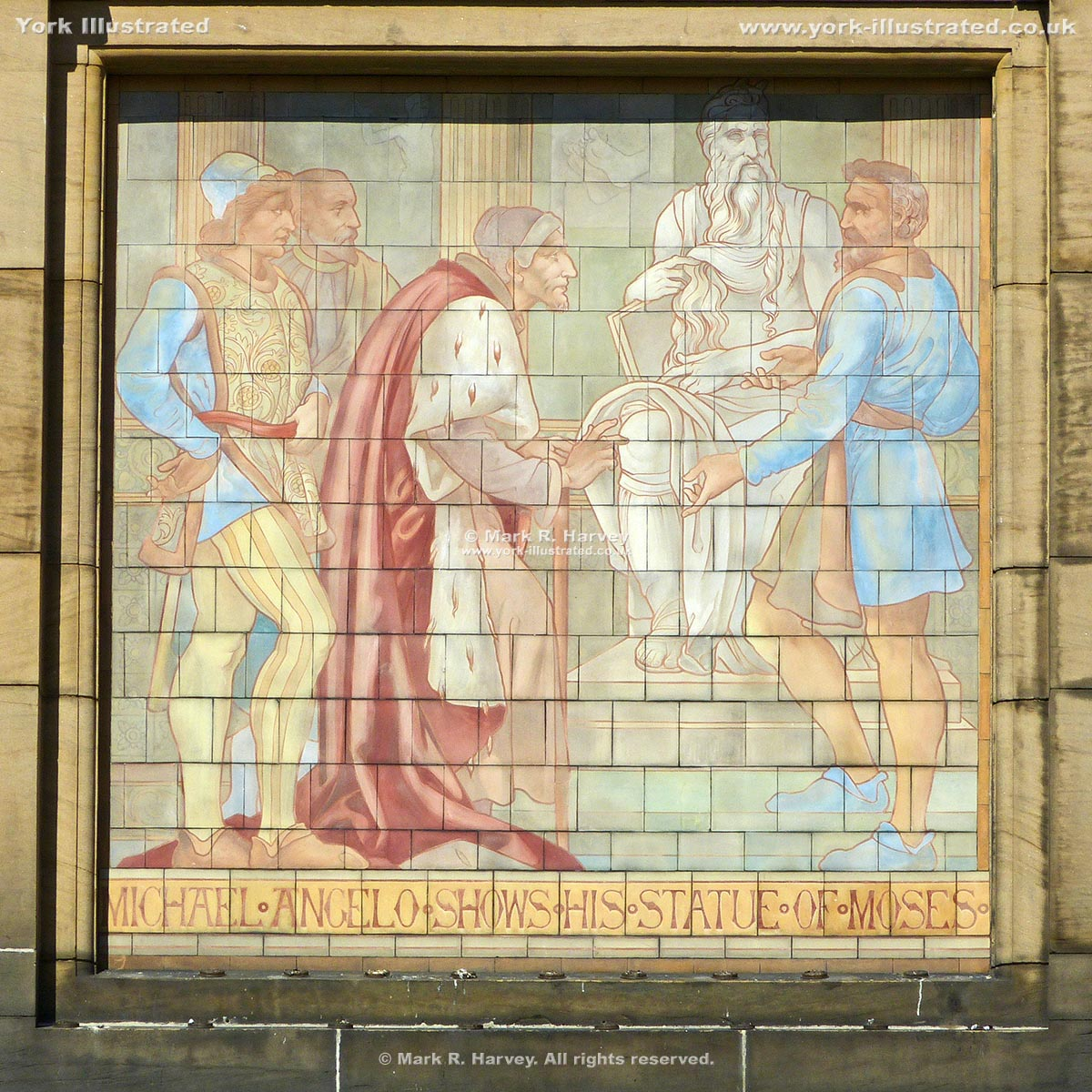Photograph: Tiled panel depicting Michelangelo and his Moses statue on York Art Gallery facade.