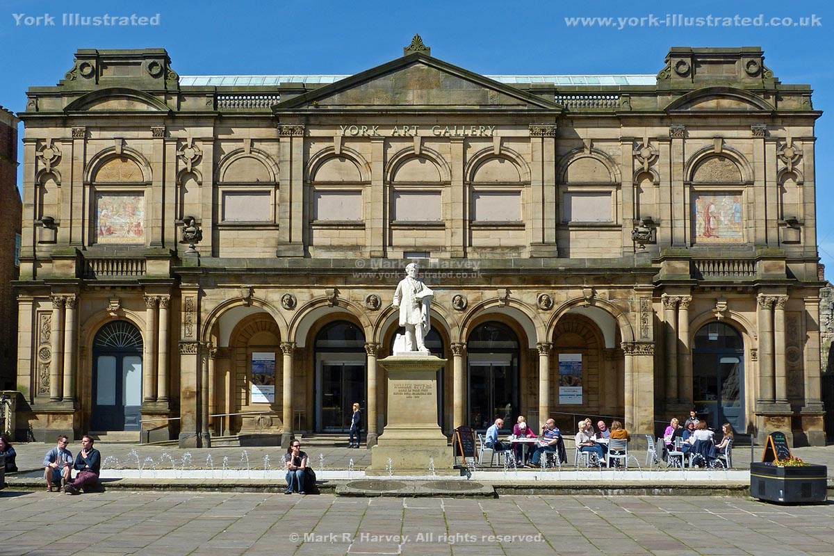 Photograph: York Art Gallery facade, Exhibition Square fountain and statue of William Etty.