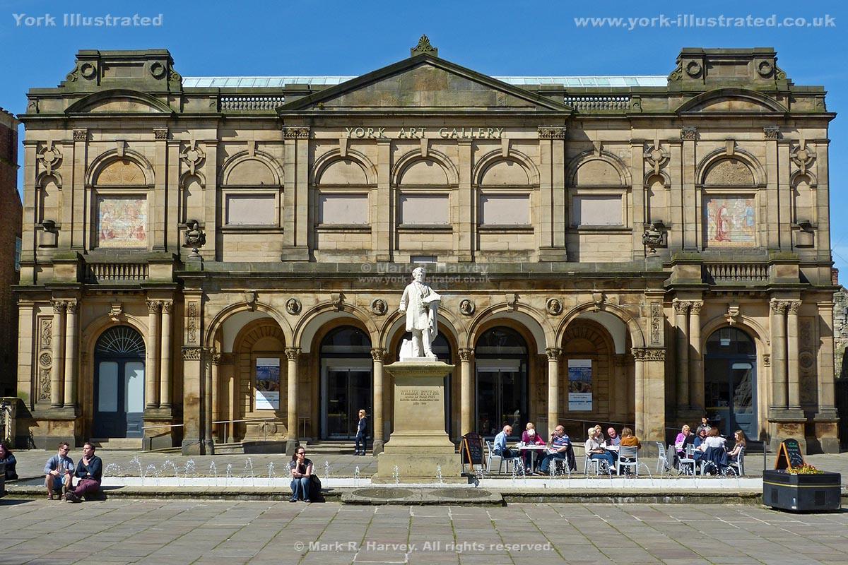 Photograph: York Art Gallery facade, Exhibition Square fountain and statue of William Etty.