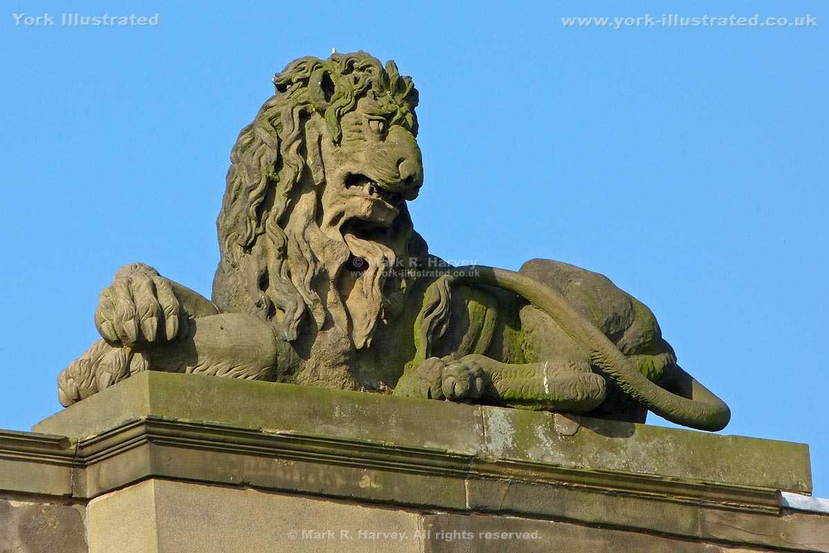 Photograph: Carved stone lion above the front facade of the Assize Courts Building in York.