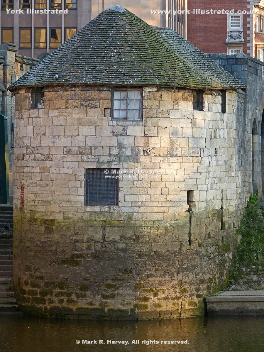 Photo: Barker Tower (York) from the northeast, with part of North Street Postern beyond.