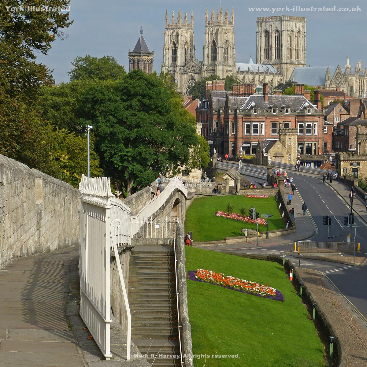 Photograph: York Minster from wall walk, with Station Road access steps in foreground.