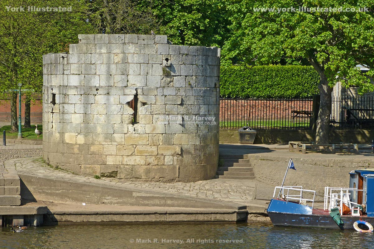 Photograph: The Water Tower (aka Marygate Landing Tower) beside the River Ouse in York).